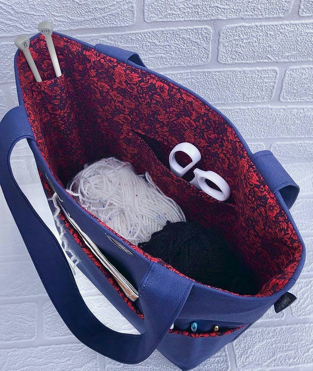 Knitting project bag, blue, red floral