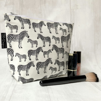 Handmade cotton makeup bag zebras