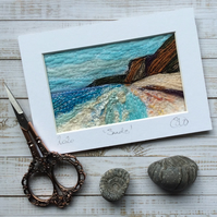 Embroidered needle felted Seascape.