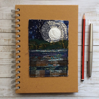 Full moon seascape Embroidered notebook.