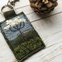 Up cycled embroidered cow parsley keyring or bag charm.