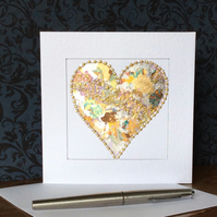 Gold and silver leaf heart Card.
