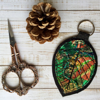 Embroidered up cycled leaf keyring or bag charm.
