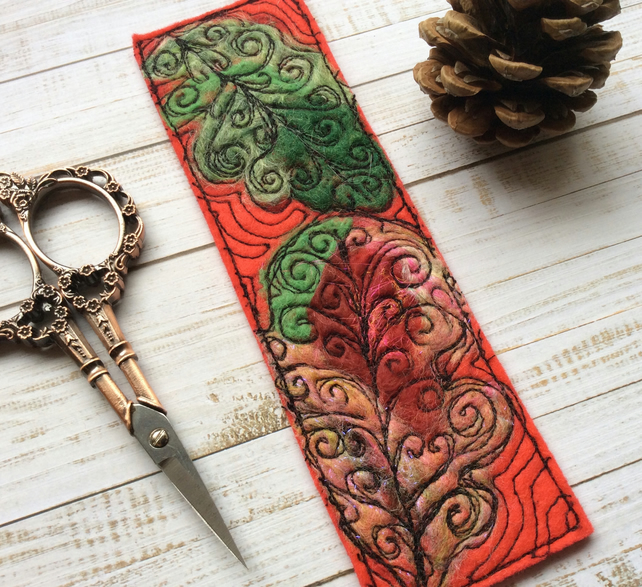Embroidered leaf bookmark.