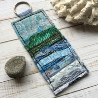Embroidered seascape keyring or bag charm.