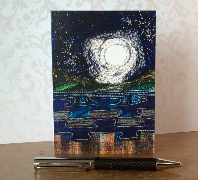 Full moon seascape textured card.