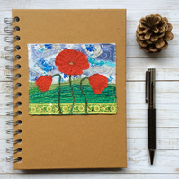 Embroidered poppy A5 lined hardback notebook.