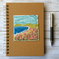 Embroidered seascape A5 lined hardback notebook or journal.