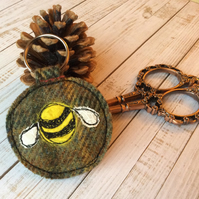 Up-cycled embroidered bee keyring or bag charm.