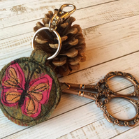Up-cycled embroidered butterfly key ring or bag charm.