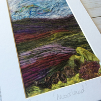Embroidered moorland needle and wet felting felting landscape.