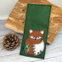 Embroidered Mr Fox bookmark with leaves.