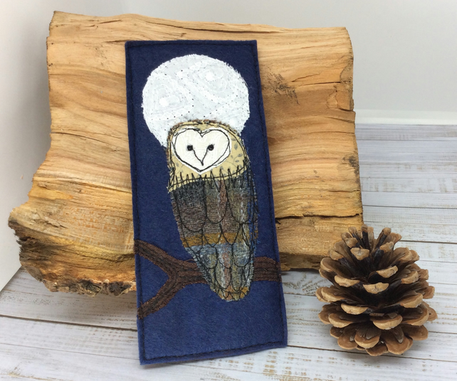 Embroidered owl and full moon bookmark.
