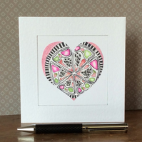 Pink patterned hand painted heart Art Card.