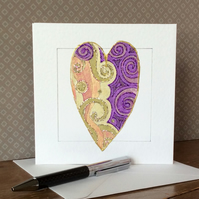 Gold and purple patterned handmade heart Art Card.