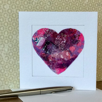 Embroidered up-cycled fabric heart Art Card.