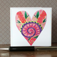 Decoratively patterned hand painted love heart printed card.