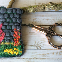 Embroidered Yorkshire wall and flower bookmark.