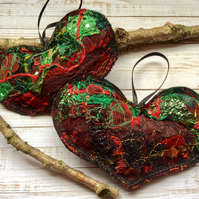 Embroidered home heart decorations.