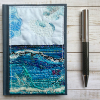 A5 Embroidered up-cycled seascape address book, A-Z book or birthday book.