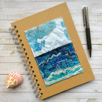 A5 embroidered seascape hardback lined notebook or journal.