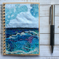 Embroidered seascape recycled A6 spiral lined notebook.