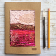 Embroidered up-cycled landscape sketchbook, drawing book or art book.