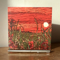 Sunset landscape printed greetings card.