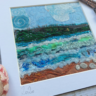 Embroidered up-cycled seascape.