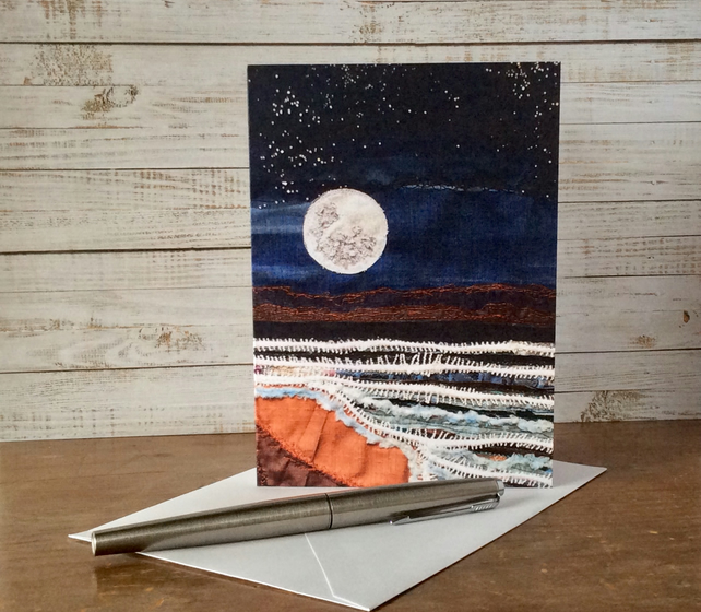 Full moon seascape embroidery printed greetings card.