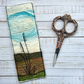 Embroidered needle felted summer hedgerow silhouette bookmark.