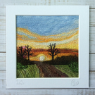 Embroidered sunset needle felted countryside landscape wall art.