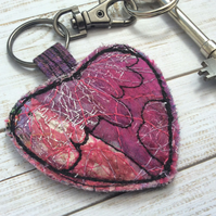 Embroidered up-cycled heart keyring or bag charm.
