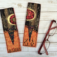 Embroidered up-cycled Klimt style bookmark.