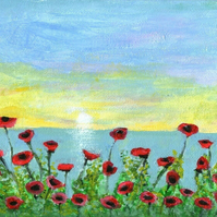 Original Poppies at Sunset Art Acrylic Painting on Canvas Board