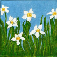 Original Daffodils Art Acrylic Painting on Stretched Canvas 4x4 Inches