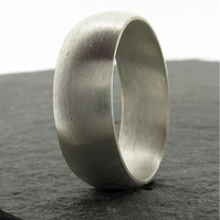 Silver wedding ring, broad brushed 8mm court band