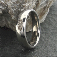 Scottish silver 5mm medium wedding ring, handmade original design.