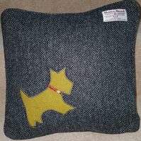 Harris Tweed cushion cover, 37x37cm steel grey, Scottie dog applique with Piping