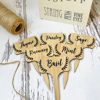 Bamboo herb plant markers