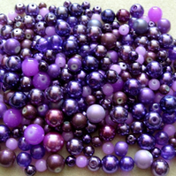 Value pack glass beads, bright purple pearl bead mix, 200g