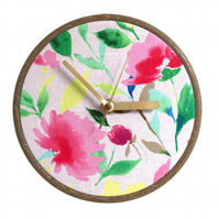Unique Fabric Clock - Pink Flowers - Sit on a shelf or hang on a wall