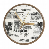 Unique Fabric Clock - Barcodes and more - Sit on a shelf or hang on a wall