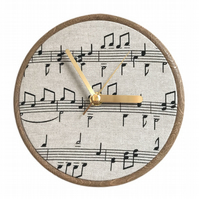 Unique Fabric Clock - Musical Notes - Sit on a shelf or hang on a wall