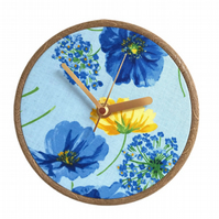 Unique Fabric Clock - Blue Flowers - Sit on a shelf or hang on a wall