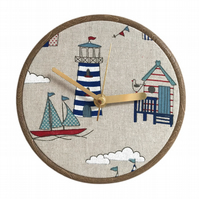 Unique Fabric Clock - At the Seaside - Sit on a shelf or hang on a wall