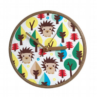 Unique Fabric Clock - Hedgehogs - Sit on a shelf or hang on a wall