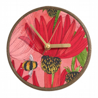 Unique Fabric Clock - Red Flower and Bee - Sit on a shelf or hang on a wall