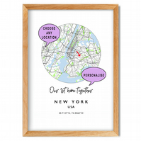 Personalised Map Prints - Great gift - new home, honeymoon, holiday, wedding