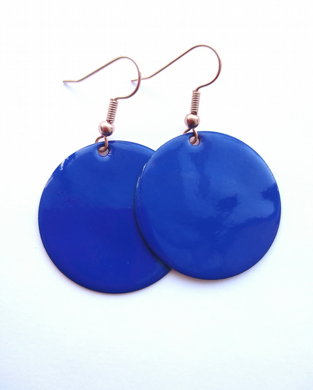 Blue Round Drop Earrings